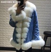 Бренд Стиль джинсовая куртка Настоящее большой Лисий меховой воротник Для женщин зимние джинсы парка верхняя одежда