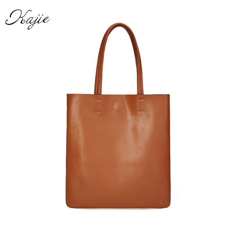 Korean Style Genuine Leather Women Handbags Foldable Shopping Tote Bags Luxury Designer Famous Brand Ladies Shoulder Bags