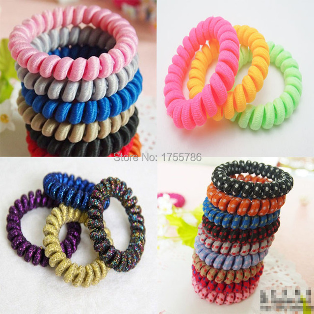 10PCS Fabric Telephone Wire Hair Band Wrapped Cloth Design Ponytail Holder  Elastic Phone Cord Line Hair Tie Hair Accessories abfae280007