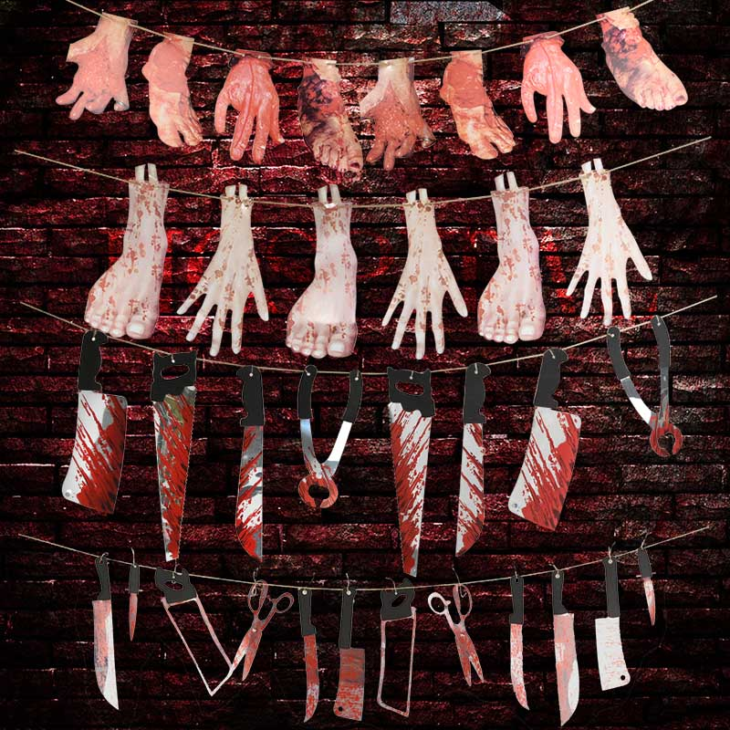 Halloween <font><b>Horror</b></font> Decoration Cut Off Bloody Hand Banner Halloween Party Bar Decor Scared Party Supplies Event Festive Accessories image