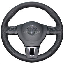 Black Artificial Leather Car Steering Wheel Cover for Volkswagen VW Gol Tiguan Passat B7 Passat CC Touran Magotan