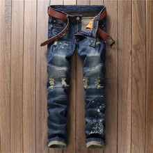 2016 Mens Skinny Ripped Biker Jeans Motorcycle Jeans Fashion Distressed Pleated Straight Jeans P6022