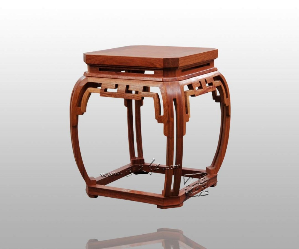 Bamboo Stool with Square Wipe-Corner Grain Classical Burma rosewood Chinese Furniture Living Room Leisure Chair Redwood Bench small square wooden stool carved jade beads on the edge of the bench burma redwood classical furniture kids chair china rosewood