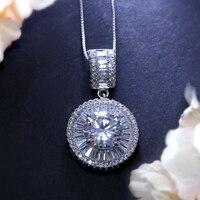 Hot Sprzedaż Spersonalizowane Dainty CZ Naszyjniki Najlepsze Walentynki Prezenty Biżuteria dla Kobiet Długi Naszyjnik 1.5 cm Okrągłe Wisiorki W Kształcie