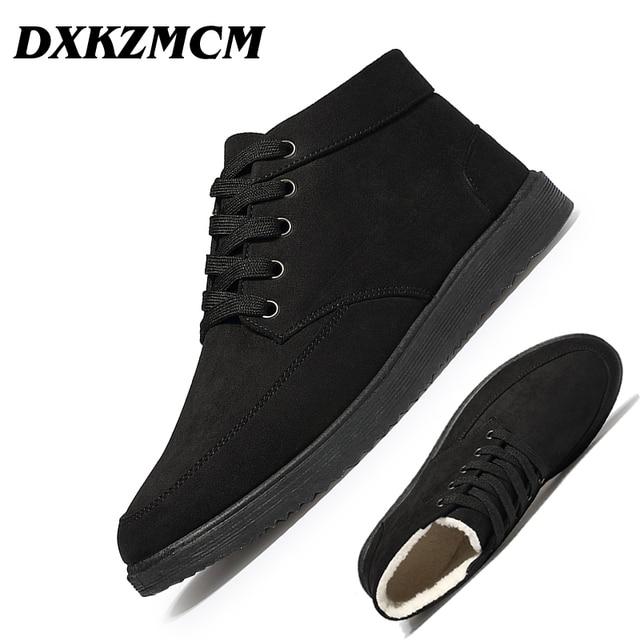 85bb24af0 DXKZMCM Homens Botas Sapatos Da Moda Inverno Tornozelo Botas Casuais Botas  de Inverno Quente Sapatos Calçados