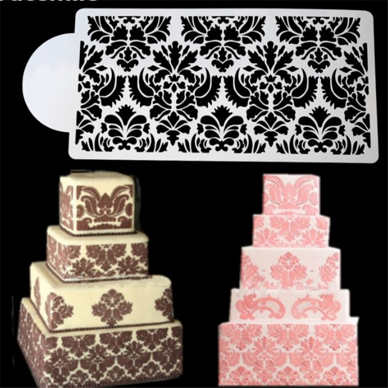 VIGVIGO Flower Lace <font><b>Cake</b></font> Stencil <font><b>Fondant</b></font> <font><b>Cake</b></font> Border <font><b>Decoration</b></font> Stencils Party Wedding <font><b>Cake</b></font> DIY <font><b>Decor</b></font> <font><b>Fondant</b></font> <font><b>Tools</b></font> Bakeware image