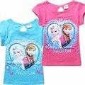 2016 moda crianças camisetas dos desenhos animados anna elsa elza tshirt meninas tops e blusas t camisa dos miúdos t-shirt do bebê roupas crianças