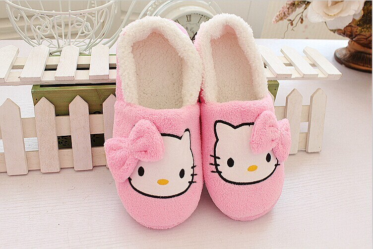 Woman Big Plus Size Lady Winter Home House Slippers For Women Cartoon Hello Kitty Indoor Shoes Warm Shoes Plush Slipper