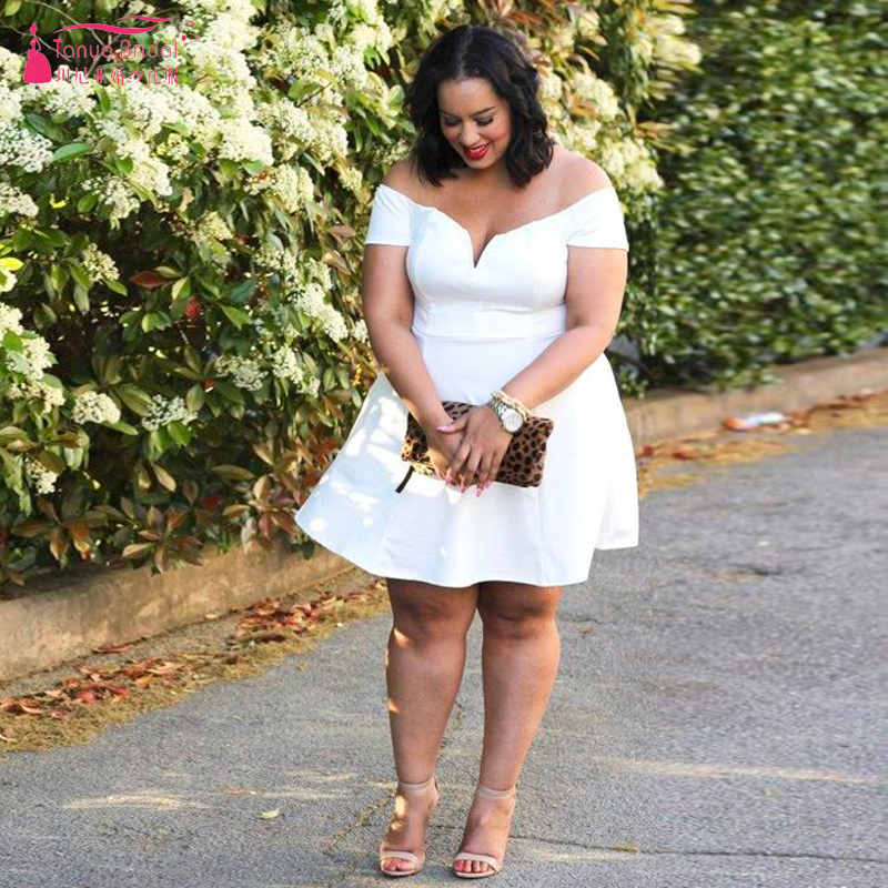 White Short Off The Shoulder Prom Dresses Plus Size V Neck Sexy