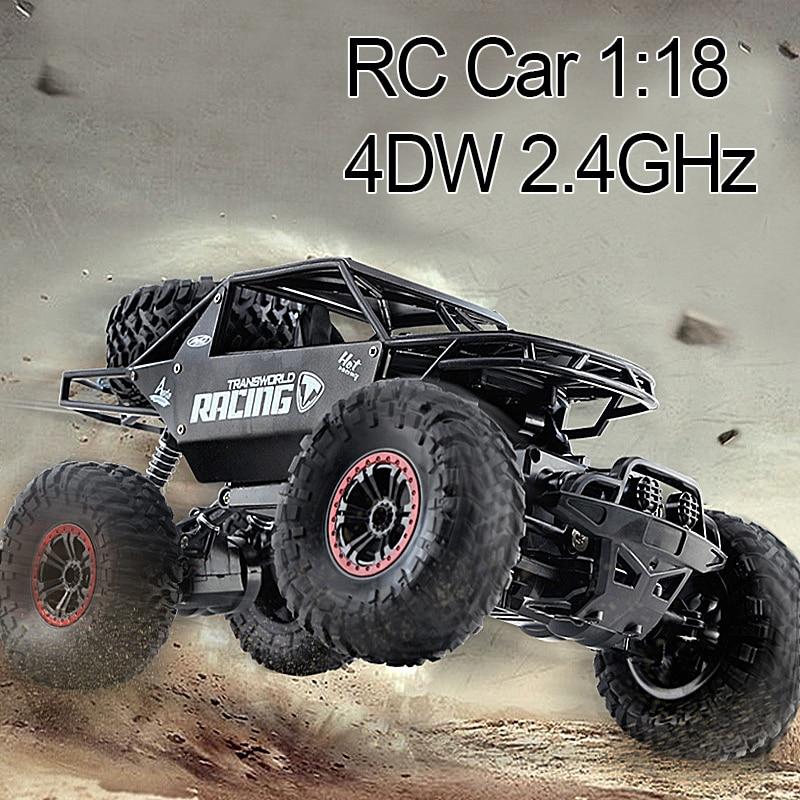 RC Car 1:18 4DW 2.4GHz Metal Rock Crawlers Rally Climbing Car Double Motors Bigfoot Car Remote Control Model Off-Road Vehicle Ca