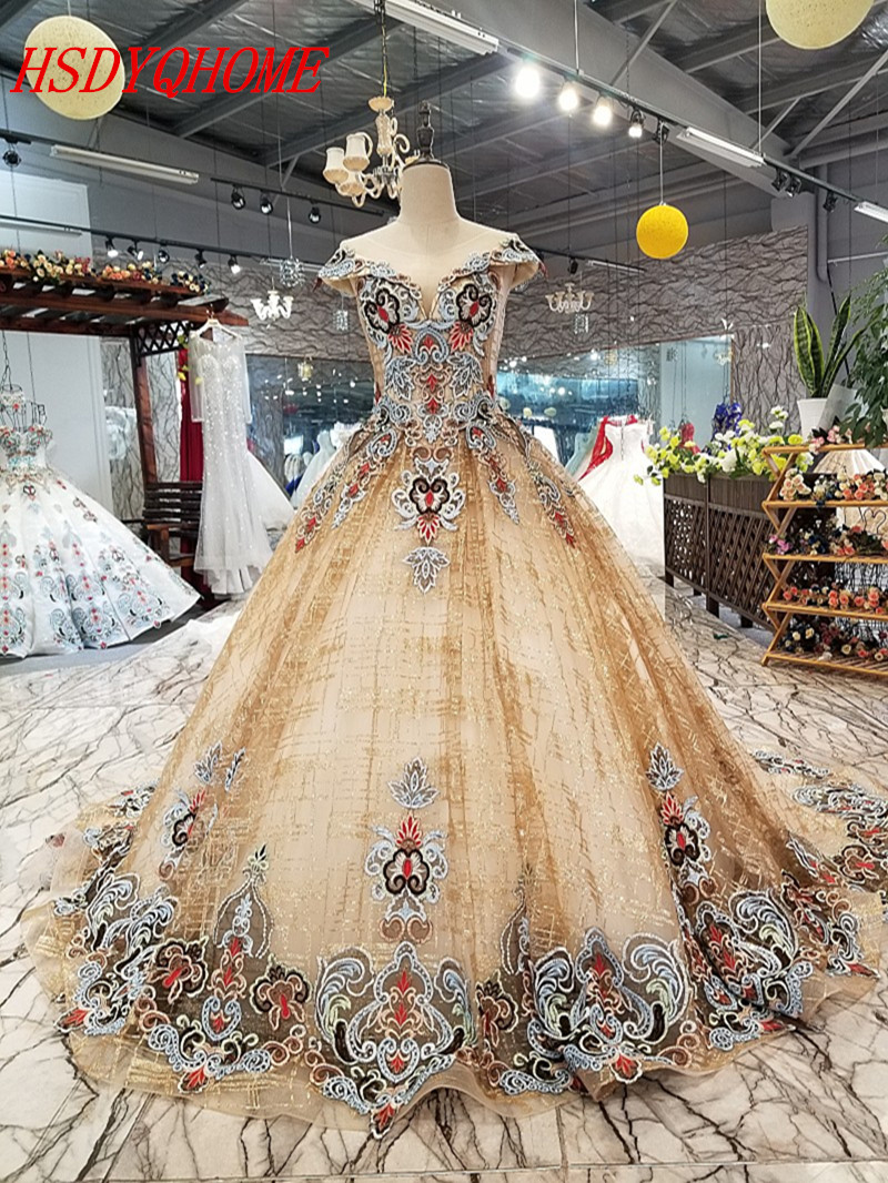 HSDYQHOME Amazing New colour Appliques   Evening     dresses   Luxury Prom   Dresses   A-Line Vestidos   Evening   party gown