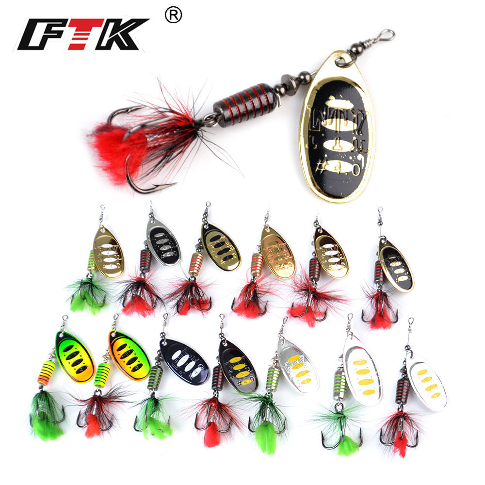 FTK 1pc Spinner Bait 7.5g 12g 17.5g Hard Spoon Bass Lures Metal Fishing Lure With Feather Treble Hooks For Pike Fishing 5