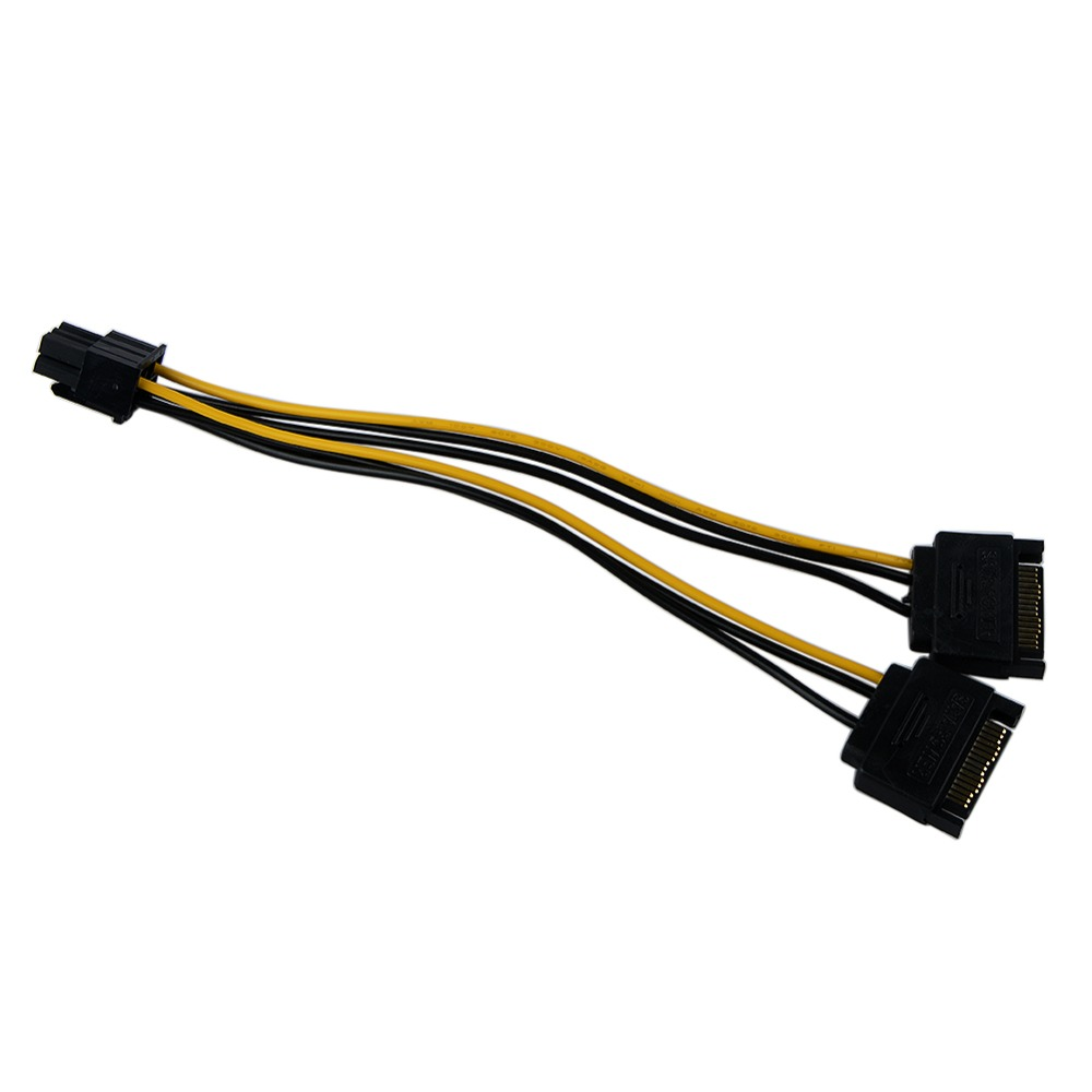 15 Pin SATA Male to 2 Female 6 Pin PCI-E PCIe PCI Express Graphics Video Display Card Dual Sata to 6pin Power Cable for PC 5pcs lot cpu 8pin female to dual pci e pci express 8p 6 2 pin male power cable 18awg wire for graphics card btc miner 20cm