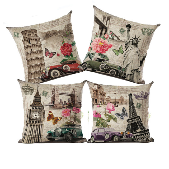 Decorative throw pillow cover case vintage style building Eiffel Tower Big Ben Leaning Tower retro cushion cover for sofa