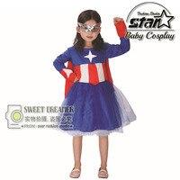 Supergirl cosplay disfraces de halloween fantasia vestido stage performance niños vestido de la muchacha cabritos del vestido del tutú capitán américa