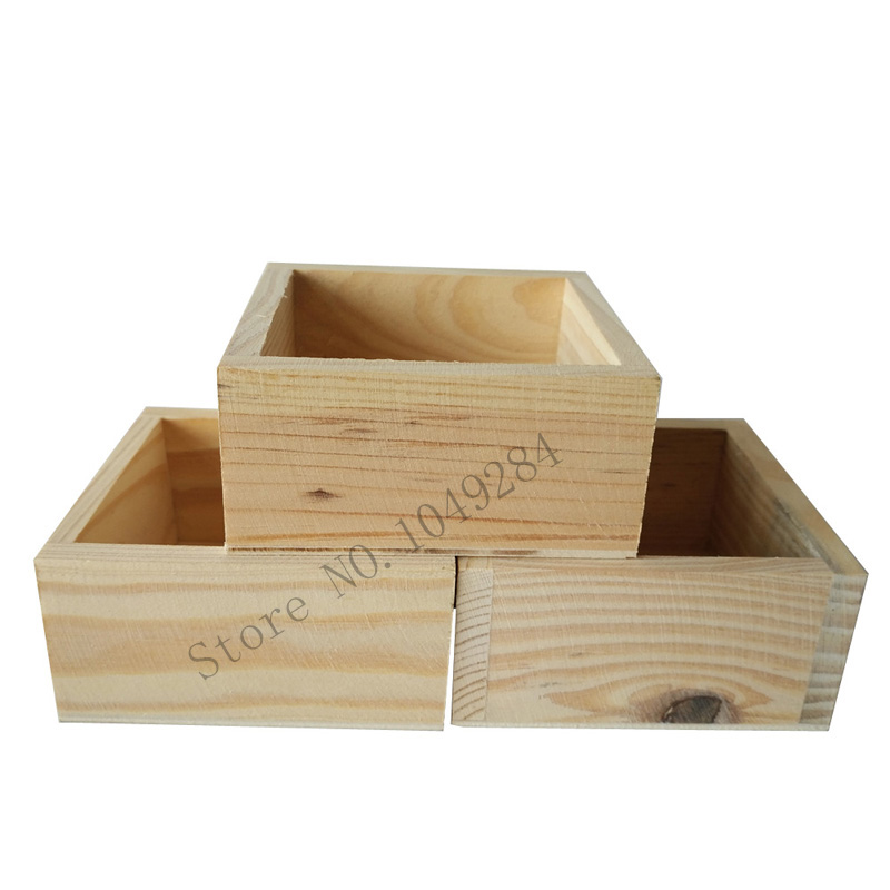 6Pcs/Lot D10*H5CM Small Square Wooden Meat Plant Pot Wood