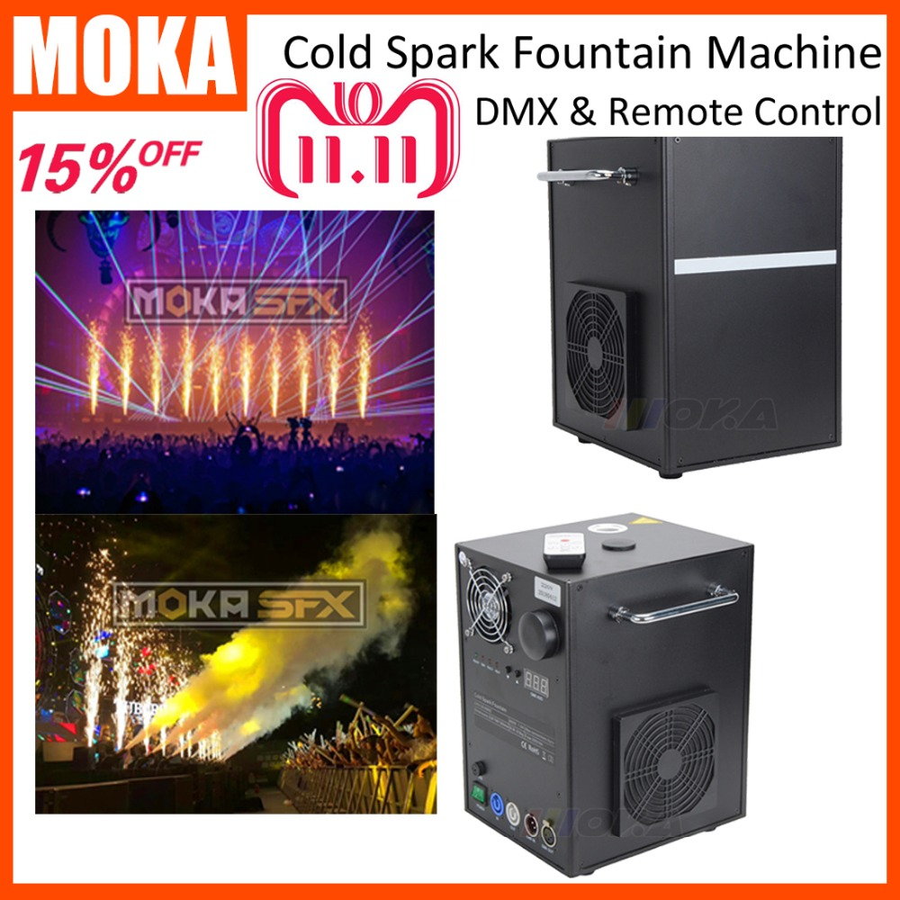 2 Pcs stage cold spark machine with 4 bags powder fly case Wedding Machine Wireless DMX Electric Cold Spark Fireworks spray 2-5m dhl shipping battery working cold fireworks machine console dmx wireless 2 4g usb led lamp speed fireworks spary shape button