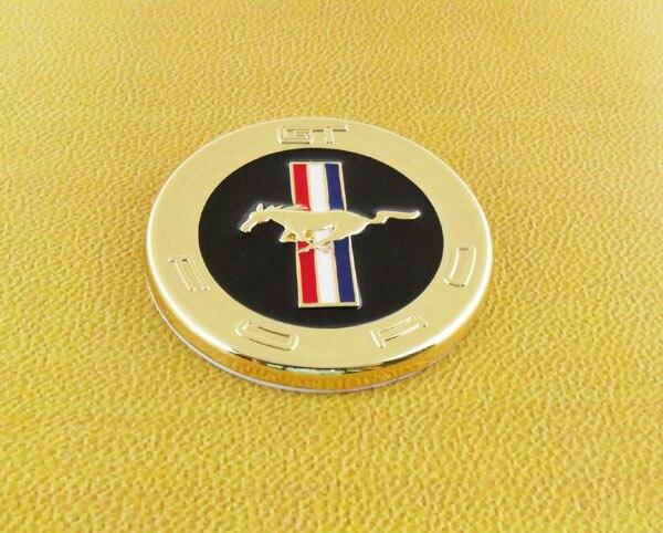 Auto car Gold Tri-Bar Running Horse Pony for Mustang Emblem Badge Sticker auto chrome camaro letters for 1968 1969 camaro emblem badge sticker