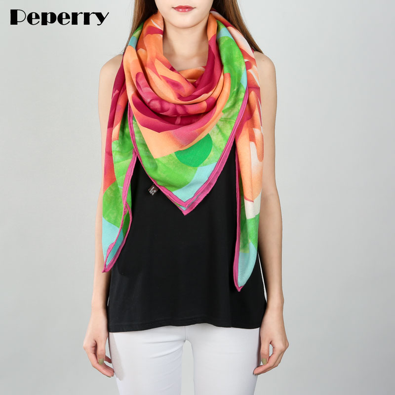50% Silk 50% Cashmere Scarf Women Scarves Designer Luxury Brand Design Large Square Lady Shawl Wraps Handmade Hemming 140*140cm