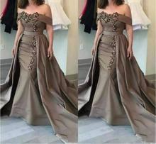 vestido novia Off-Shoulder boat neck Sequins Appliques Mermaid Formal Evening gown 2018 Detachable Mother of the Bride Dresses