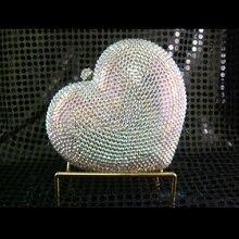 7706AB Сердце WhiteAB Кристалл Леди Мода Люкс Партия Ночь Металл Вечер кошелек случае коробка сумочка сцепления сумка