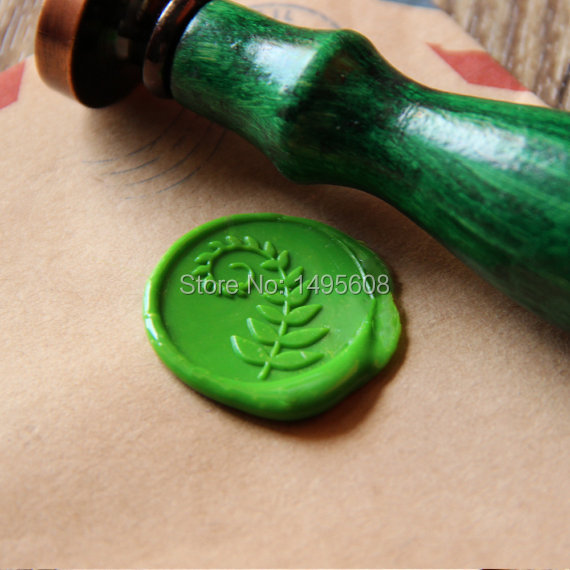 Fern leaf Wax Seal Stamp/ green leaf Sealing Wax Seal/wedding Wax Stamp excellent queality seal wax particle tablet in mini glass bottle 75 pcs muti colored to choose seal wax stamp use