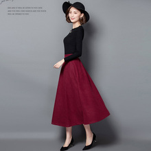 New Winter Skirt Autumn Fashion Women's Long Woolen Skirts A-line Wool Skirts 5 Colors Solid Pockets Casual Big Swing Skirts