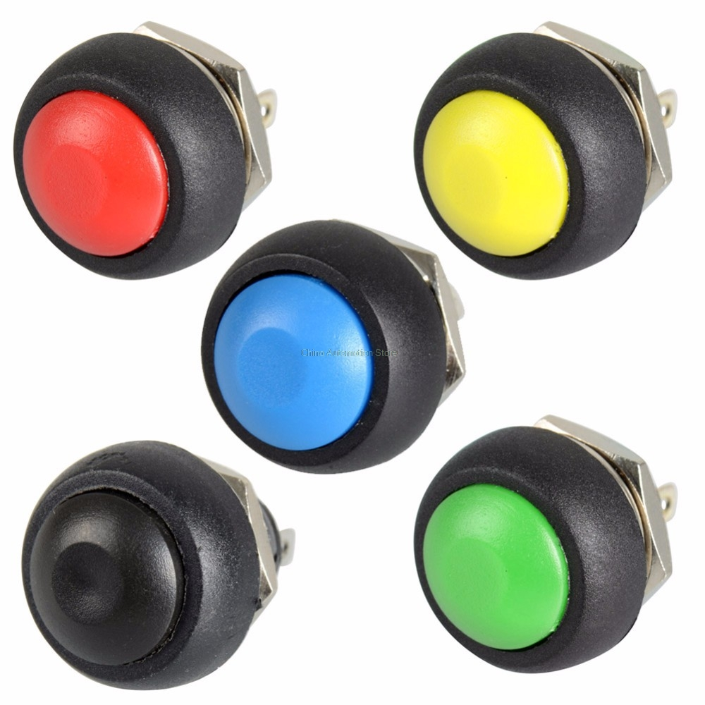 5Pcs Black/Red/Green/Yellow/Blue 12mm Waterproof Momentary Push button Switch merida big seven 20 md 18 5 2016 matt red yellow black