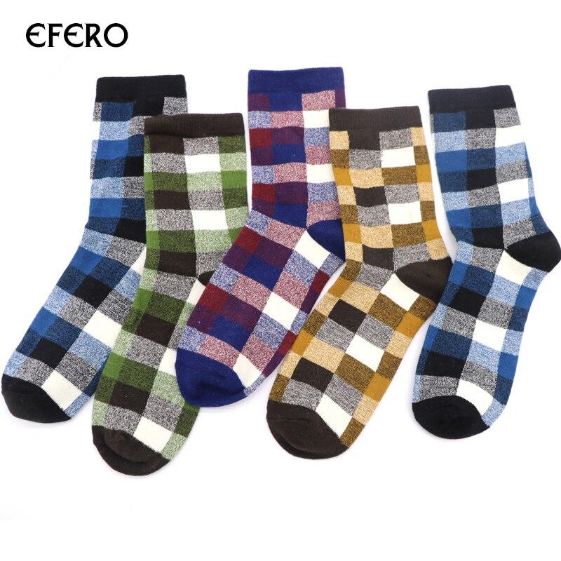 3 Pairs efero Man Grid Pattern Sock for Autumn Winter Socks Mens Fashion Business Dress Sock Warm Comfortable Short Socks Funny