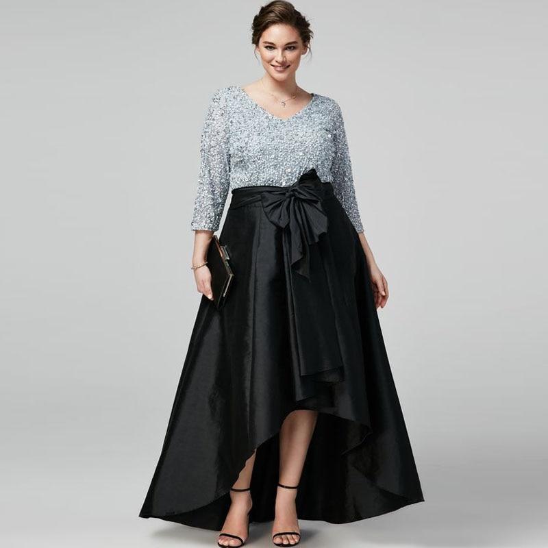 2016 plus size long women skirts elegant black taffeta high low