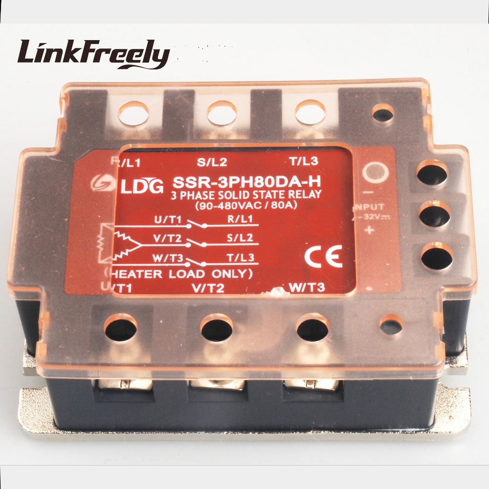 SSR-3PH80DA-H 2pcs 3 Three Phase AC Solid State Relay LED Indicator Input 4-32VDC Output 90-480VAC 80A DC to AC SSR Relay 400a industrial ssr single phase input 4 32vdc output 24 680vac solid state relay 400a