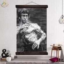 Лучший!  Брюс Ли Боевой Дух Старинные Плакаты и Отпечатки Scroll Painting Холст Wall Art Pictures Рамка