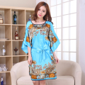 Sexy Blue Lady Satin Robe Dress Chinese Women Loose Nightgown Sleepwear Kimono Kaftan Bathrobe Gown Flower Plus Size NB057