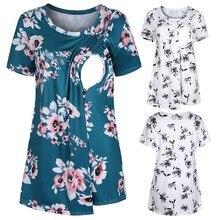 Vetement femme, женская одежда для беременных, топы и блузки с цветочным принтом, футболка для грудного вскармливания