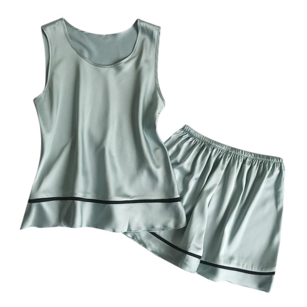 2019 NEW Womens Sleeveless Sleepwear Shorts   Pajama     Set   Пижамный комплек Wholesale T3