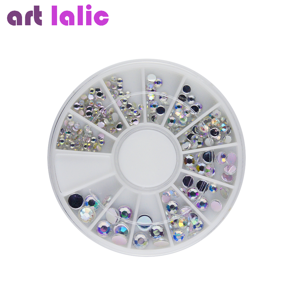 Silver Holographic Glitter Rhinestone Rainbow AB Colour Nail Art Decoration Acrylic