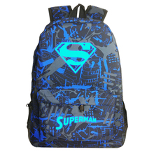 Iron Man Backpack luminous luminous energy changes high school students backpack schoolbag men and women Superman Batman white