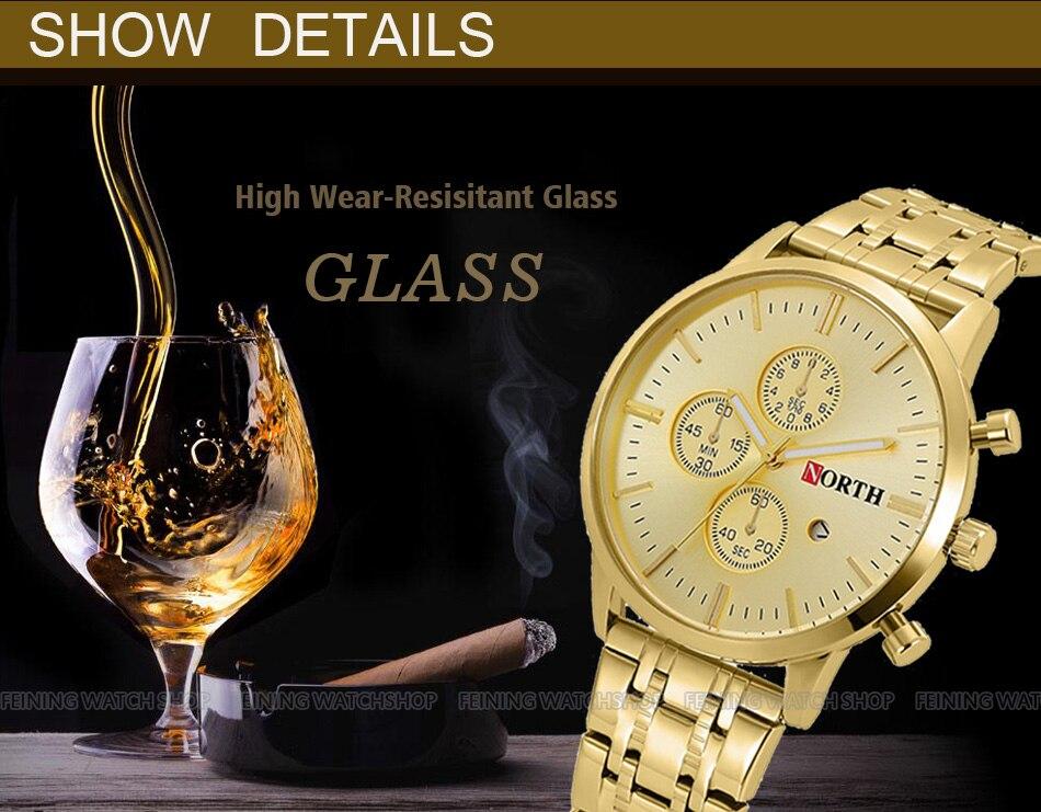 Βόρεια Brand Χρυσό ρολόι ανδρών - Ανδρικά ρολόγια - Φωτογραφία 5