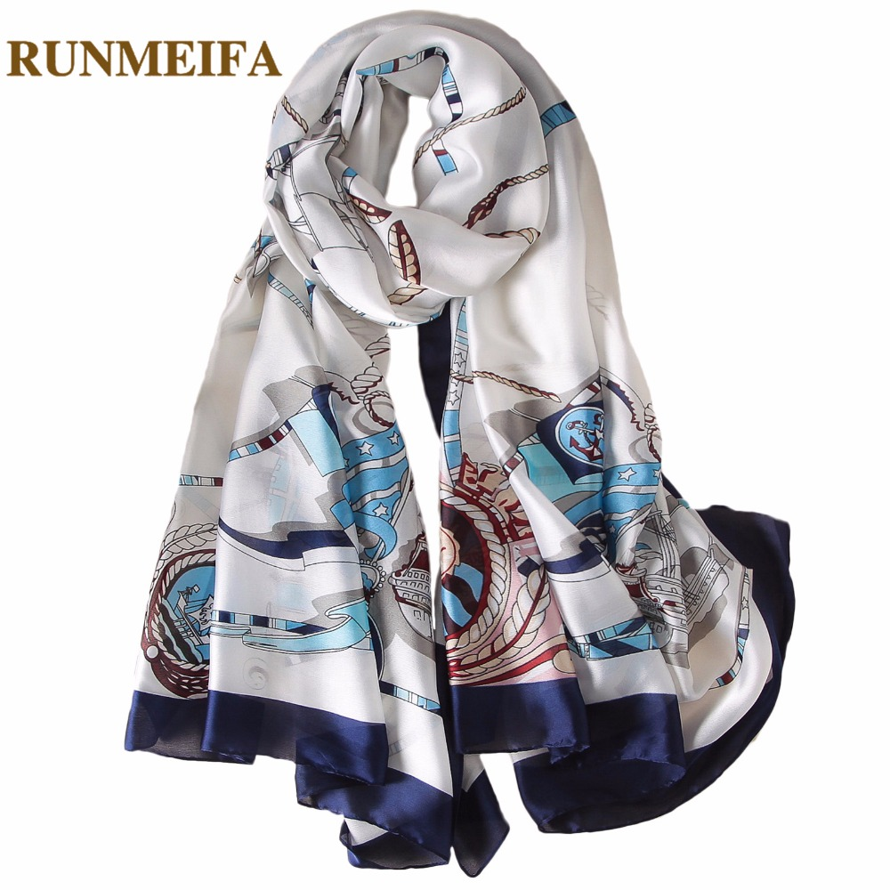 [RUNMEIFA] 2018 New Fashion silk Scarves Women Summer beach shawls and capes Scarf <font><b>180*90</b></font> Female Soft Comfortable accessories image