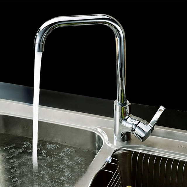 Kitchen Faucet Rotation Rule Shape Curved Outlet Pipe Tap Basin