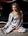 Conjuntos mulheres Pijama de Três Peças Com Decote Em V Sleepwear Cetim De Seda Sexy Lace Pijamas Modelos Femininos Plus Size Grande XXXL Cinza 8306