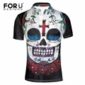 FORUDESIGNS 2017 Casual Polo Shirt Men Fashion Polos Shirt Novelty 3D Skull Head Printed Polo Hombre Camisa Polo Ralpmen Shirts