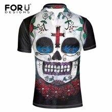 FORUDESIGNS 2017 Casual Polo Shirt Men Fashion Polos Shirt Novelty 3D Skull Head Printed Polo Hombre Camisa Polo Ralpmen Shirts