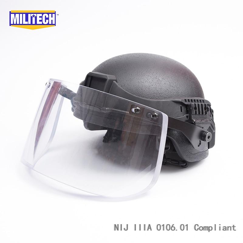 Militech BK ACH Mich Full Cut NIJ IIIA 3A Kevlar Ballistic Bullet Proof Bulletproof Helmet With Tactical Visor Railband Set Deal