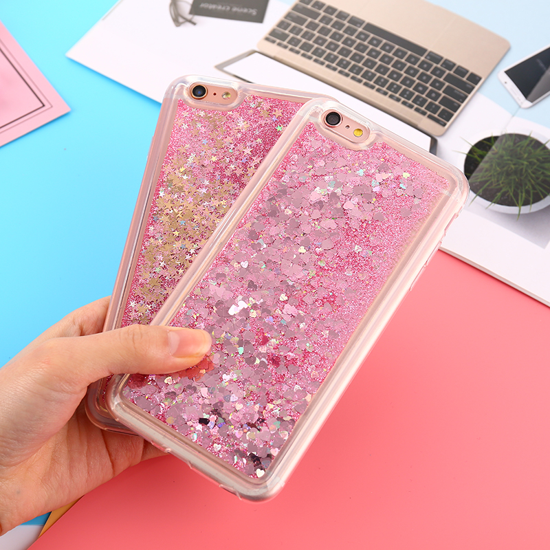 Love Heart Stars Glitter Phone Cases For iPhone 7 Quicksand Dynamic Liquid Back Cover for iPhone 6 6S 7 8 Plus 5S 5 Hard PC case
