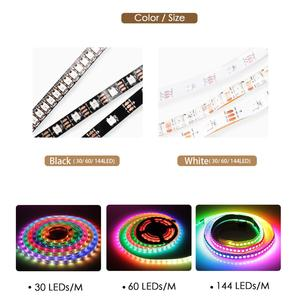 Image 2 - WS2812B Dây Đèn LED DC 5V Đen Trắng PCB Thông Minh Addressable Điểm Ảnh WS2812 IC 30/60/144 Đèn LED 17Key Thanh RGB 50Cm 1M 2M 3M 4M 5M
