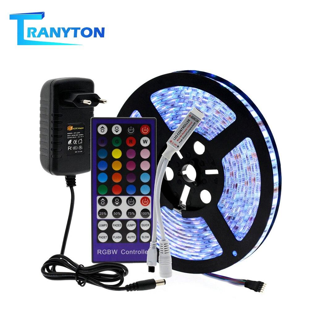 RGB LED Strip Set 5M 2835 5050 RGBW RGBWW LED Strip Light + IR Remote Controller + DC12V Power Adapter LED Flexible Neon Tape