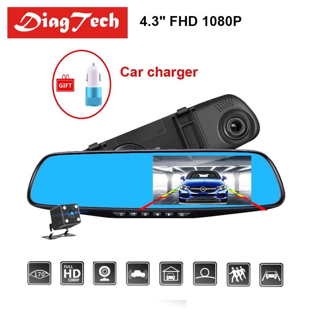Neueste Auto DVR Dash Kamera Dash Cam 4,3 ''DVR Auto Spiegel Dual Len HD 1080 P Rückansicht Kamera rück Dashcam Auto Recorder Video