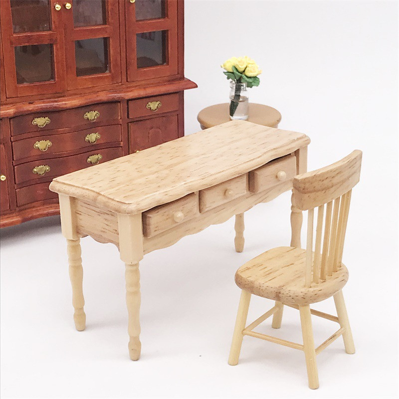 1:12 Wooden Miniature desk & chair for dolls Furniture toy bedroom decoration kids Dollhouse play toys children girls gifts
