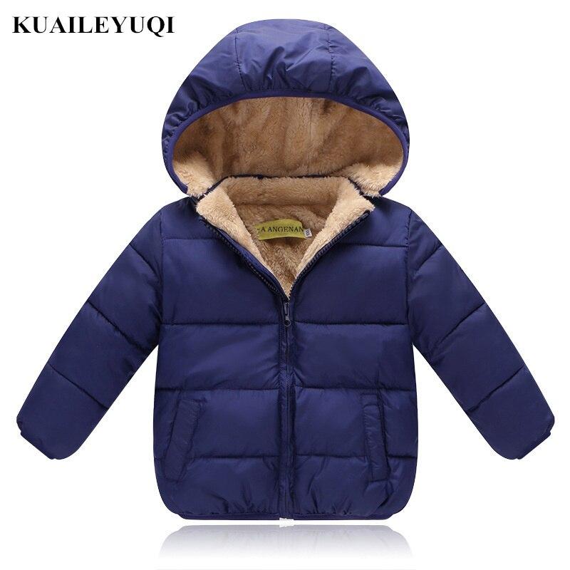 Winter Kids Child Fleece Coats Boys Padded Velvet Hooded Jacket Warm Outerwear